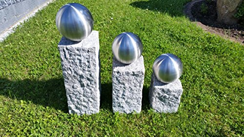 GRANIT Palisade Säulen Set Säule 25/35/45cm mit 120mm Edelstahlkugel Garten Deko