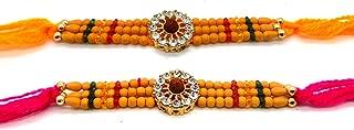 Set of Two Rakhi, Stone With Rudraksha Design Rakhi thread, Raksha bandhan Gift for your Brother, color of thread my very