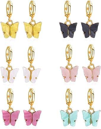 Lidiper 6 Pares Pendientes Mariposa, Mariposas Colgante Mariposa Acrílico Plata Encantos Coloridos en Forma de Mariposa Pendientes de Oreja Joyería para Mujeres y Niñas