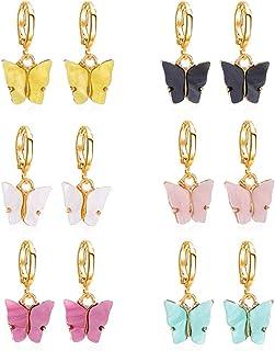 Lidiper 6 Pares Pendientes Mariposa, Mariposas Colgante Mariposa Acrílico Plata Encantos Coloridos en Forma de Mariposa Pe...