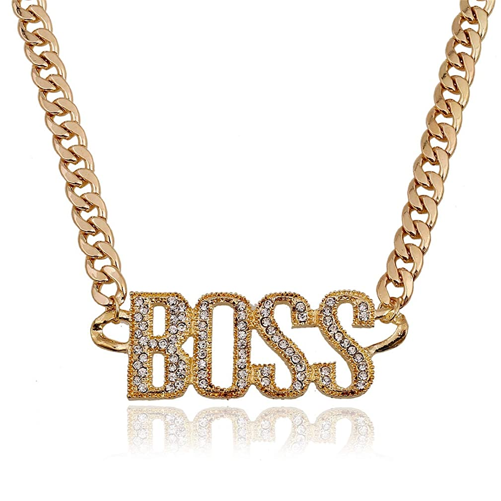 Lanue Women's Rhinestone Gold Plated Punk Necklace Letters Pendant Statement Necklaces