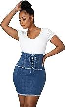 NSOT Jeansrok voor dames met gemiddelde taille met zakken casual sexy zak heup boven de knie lengte jeansrok