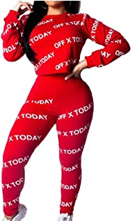 Womens 2 Piece Floral Print Sports Outfit Top Bodycon Long Pants Joggers Sportswear Set