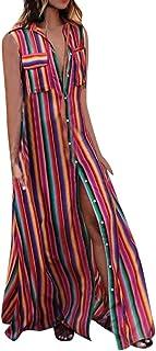Auifor Vestido Informal con botón Abotonado Casual sin Mangas de Las Mujeres Vestido Suelto de Fiesta Larga