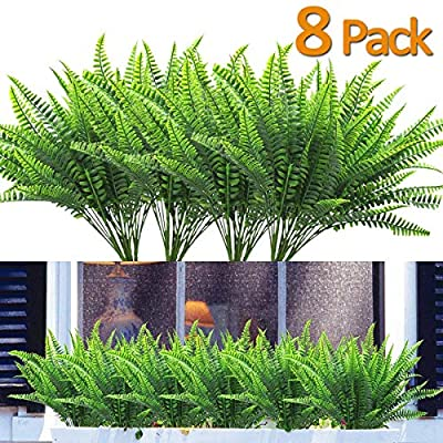 8PCS Artificial Flowers Outdoor UV Resistant Plants, 8 Branches Faux Plastic Corn-flower Greenery Shrubs Plants Indoor Outside Hanging Planter Kitchen Home Wedding Office Garden Decor