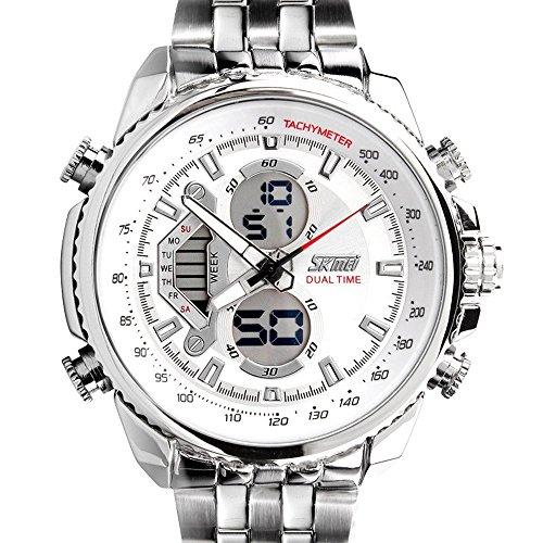 Sunjas Herrenuhr Uhr Armbanduhr Quarzuhren Watch Sportuhr Edelstahl Wasserdicht Uhr (Weiss)