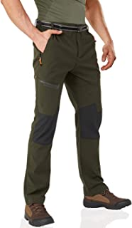 Wohthops Men's Hiking Pants Waterproof Winter Outdoor Pants Lightweight and Fleece Lined with Multi Zipper Pockets