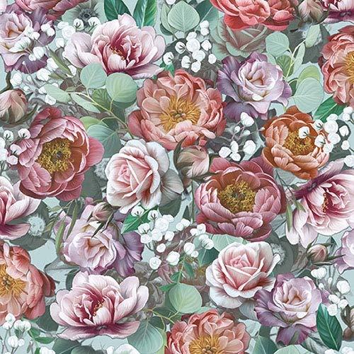 4 servilletas de papel para decoupage – 3 capas, 33 x 33 cm, diseño de flores vintage verde (4 servilletas individuales para manualidades y servilletas)