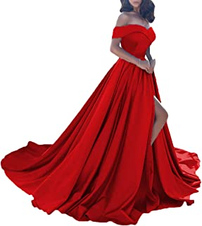 Dressesonline Women's Off The Shoulder A Line Split Prom Evening Dresses Long Formal Gown