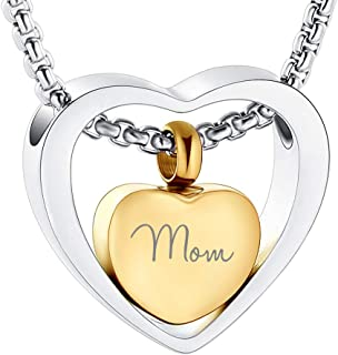 Beydodo Stainless Steel Cremation Jewelry Believe and Faith Cross Heart Silver Ash Necklace for Urn