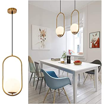 Amazon.com: Pendant Lighting Modern Style Chandelier ,One Light Kitchen Lamp,Frosted Glass Globe Lampshade Pendant Light Indoor Hanging Light Fixture Adjustable Hanging Fixture For Dinning Room Bedroom: Home Improvement