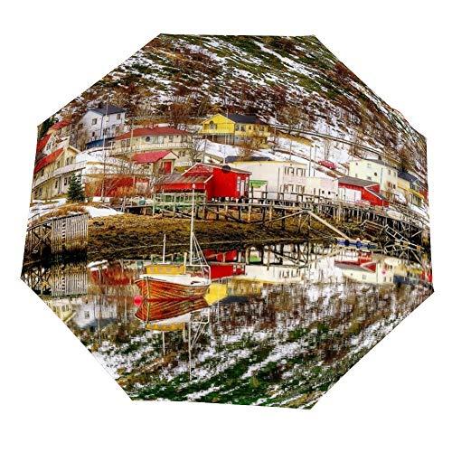 Reisparaplu - Huizen Prachtige Rivier Dorp Noorwegen Thuis Boot Winddicht, Ergonomisch Handvat, Auto Open/Klapbare Paraplu