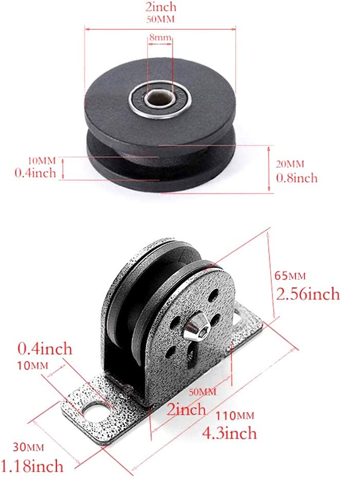MAYOKIAAR Pulley Block Swivel Lifting Single Wheel Wall//Ceiling Mount Pulley Block 300kg w//Dual Bearings /& Bolt for Home Workout DIY Hanging Rope Fitness Equipment