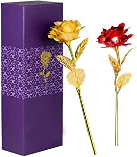 MSA JEWELS Artificial Rose Flowers In Gift Box (Gold Red, 2 Pieces)