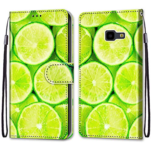 i-Hülle Handy Schutzhülle Kompatibel für SamsungJ4+ Handyhülle Phone Hülles PU Lederhülle Brieftasche BookStyle Etui Handytasche Wallet Kartenfach Flip Tasche für Samsung Galaxy J4 Core/J4+,Limette