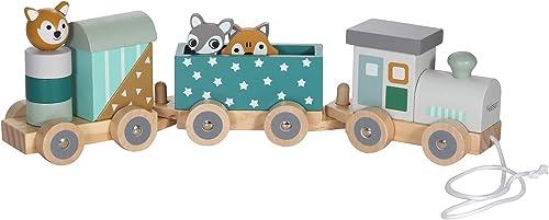 Kindsgut Petit Train en Bois et Cubes de Construction, Jouet en Bois bébé, Les Animaux du Zoo, étoiles