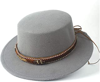 HAOHAO Men Women Stylish Flat Top Hat Dance Party Hat Fedora Hat for Gentleman Wool Trilby Fedora Hat Size 56-58CM (Color : Gray, Size : 56-58)