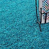 Hochflor Shaggy Teppich für Wohnzimmer Langflor Pflegeleicht Schadsstof geprüft 3 cm Florhöhe Oeko Tex Standarts Teppich, Maße:140x200 cm, Farbe:Türkis - 3