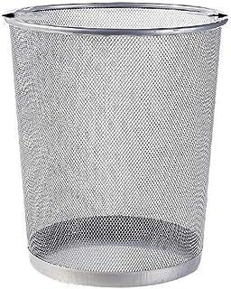 C-J-Xin Waste-Basket, Black Silver Office Trash Can Living Room Bathroom Trash Can Multifunction Household Trash Can Trash...