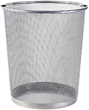 C-J-Xin Waste-Basket, Black Silver Office Trash Can Living Room Bathroom Trash Can Multifunction Household Trash Can Trash...