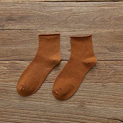 XINDUO Calcetines de algodón de Color Liso para Mujer,Calcetines Casuales de algodón Rizado de Color Liso 5 Piezas-Naranja,Suave Calcetines Premium Calidad