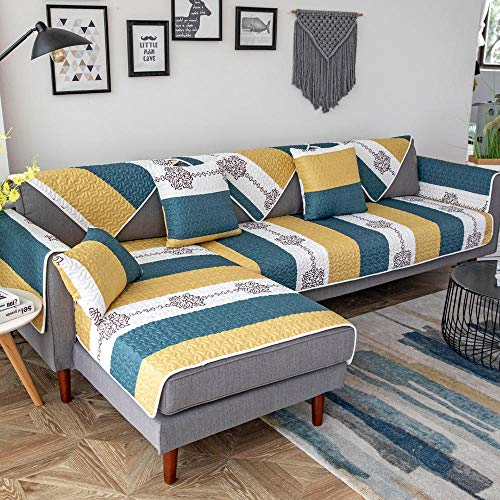 YUTJK Cojín de sofá Acolchado de Tela Impresa,Resistente a Las Manchas para los Animales Domésticos Sofá Cover,Seccional Antideslizante Multisize Sofá Cover,Azul_90×210cm