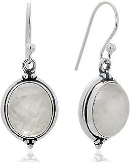 Women's 925 Oxidized Sterling Silver Oval Gemstone Vintage Dangle Hook Earrings, 1.25