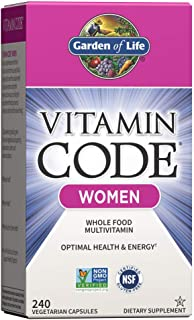 Garden of Life Multivitamin for Women, Vitamin Code Women's Multi - 240 Capsules, Whole Food Womens Multi, Vitamins, Iron,...