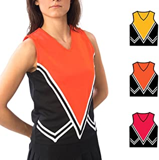 Pizzazz Black Orange Cheer Moon Uniform Top Adult XL