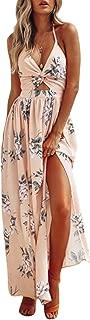 Women's Sexy Halter V Neck Dress Floral Backless Split Beach Dress