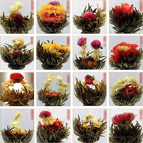Hum. m, 10 unidades, diseño de flores multicolores de té en forma de bola, color verde