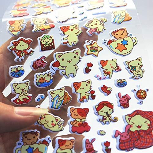 BLOUR 3 BlattNette KatzeTagebuch Dekoration Kinder Aufkleber 3DBlase Aufkleber Scrapbooking Baby Geschenk Kinder Spielzeug CC-022