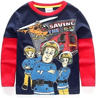 Toddler Boys Girls' The Fireman Sam Saving The Day Long Sleeve Cotton Tee Spring/Autuam T-Shirt for 2-6T Kids