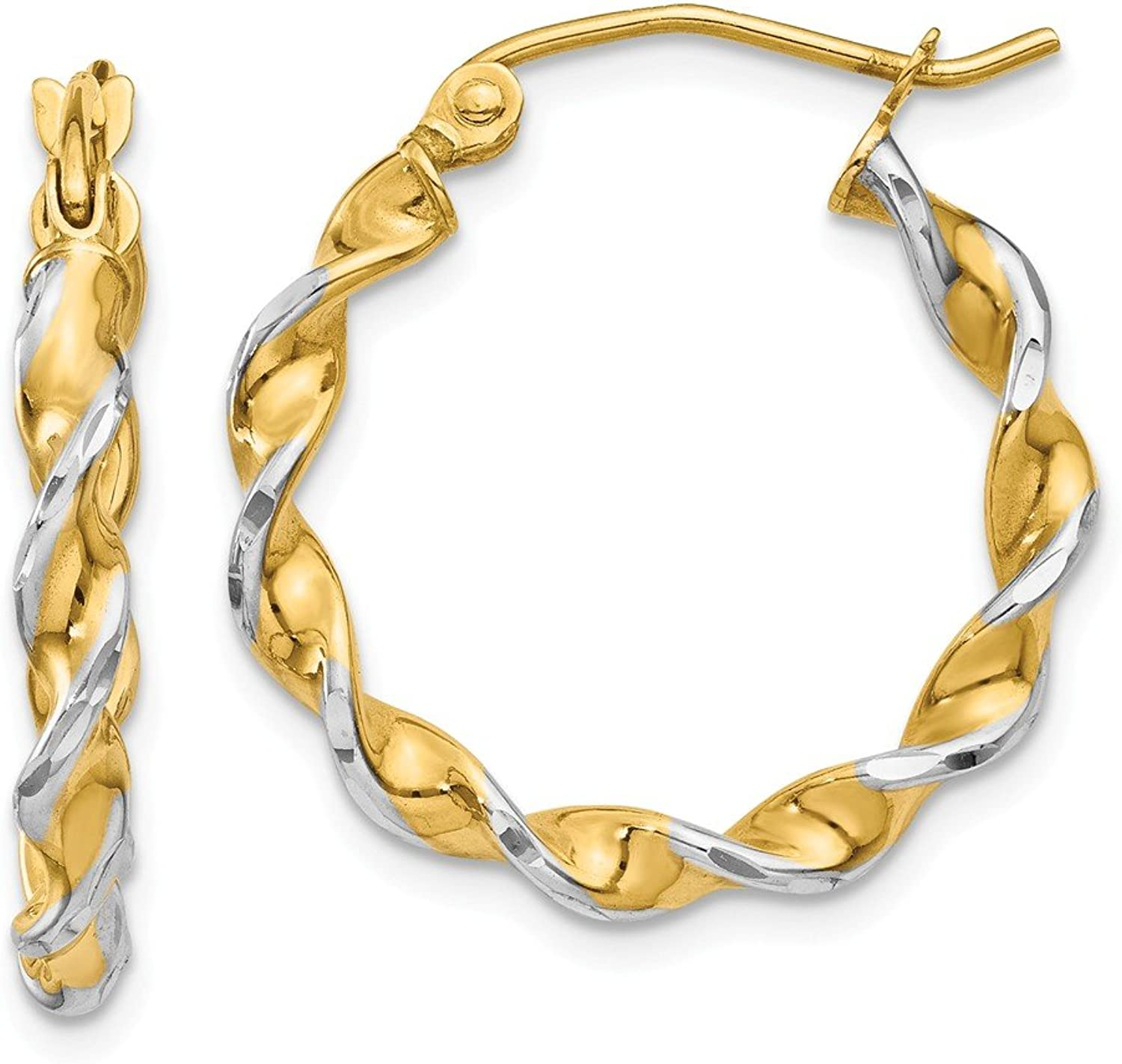 Beautiful rhodium plated gold and silver 14K rhodiumplatedgoldandsilver 14k Polished 2.75mm Fancy Twisted Hoop Earrings