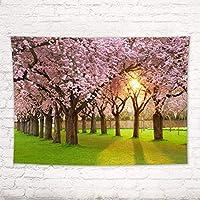 SPXUBZ寝室/リビングルームのファッショナブルなタペストリー春の風景の装飾母の日美しい桜の木スタイリッシュな壁掛け壁の装飾