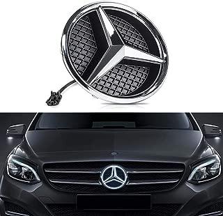 DIYcarhome LED Emblem Car Logo Grid LED Grille Badge Front Light White Illuminated for Mercedes Benz 2013-2015 A B C E R GLK ML GL CLA CLS Class Series - Drive Brighter Not Transparent Grid