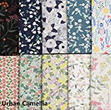 COTTONVILL 20COUNT Cotton Print Quilting Fabric (10pcs Half Yard, 01-Urban Camellia)