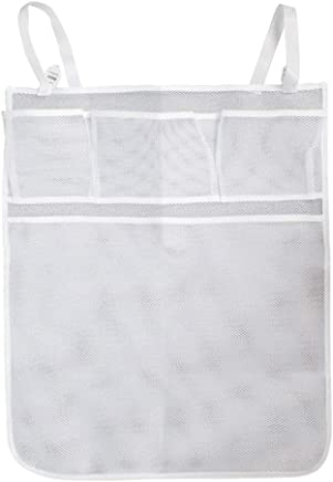 Crib Storage Bag Crib Bed Hanging Storage Bag Baby Nursery Organizer with Pockets for Clothing Diapers Toys White 1PC