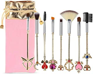 Bowinr 8pcs Sailor Moon Makeup Brush Set with Pouch, Japanese Anime Sailor Moon Proplica Cosmetic Brushes for Anime-Fans