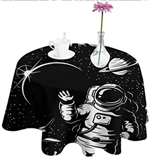 Astronaut Leakproof Polyester Tablecloth The Race to Space Retro Image with Space Crafts Planets Astronaut vs Cosmonauts Outdoor and Indoor use D67 Inch Black White
