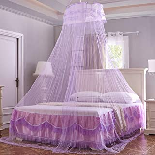 Wenset Lightweight Princess Mosquito net Bed Canopy, 33D Dome Tent Bed Curtain for Single Size Double to Super Queen Size with Lace Insect Protection Repellent-Purple 0.6x2.6x11m
