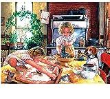 Pinturas con Numeros para Adultos Pinturas para Lienzo Dos Niños Haciendo Tareas Domésticas Kits Manualidades Pinturas Oleo DIY Regalos 40X50Cm