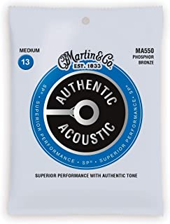 Martin Guitar MA550 Authentic Acoustic Medium Guitar Strings, 92/8 Phosphor Bronze