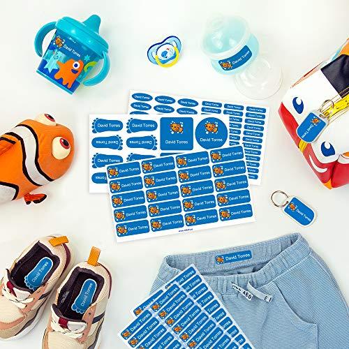 Pack de etiquetas para marcar la ropa, objetos, zapatos y mochilas de los niños. 142 etiquetas personalizadas perfectas para el cole o la guardería Stikets®