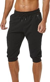 Ouber Men's 3/4 Joggers Pants Slim Fit Training Workout Gym Shorts Zipper Pocket
