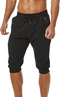 Ouber Men's 3/4 Joggers Pants Slim Fit Training Workout Gym Shorts with Zipper Pocket