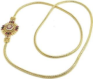 Adc FashionsOne Gram Micro Gold Plated Copper Traditional Designer Mugappu Chain for Women (Gold, Yellow, 24 inch, LET/MC-...