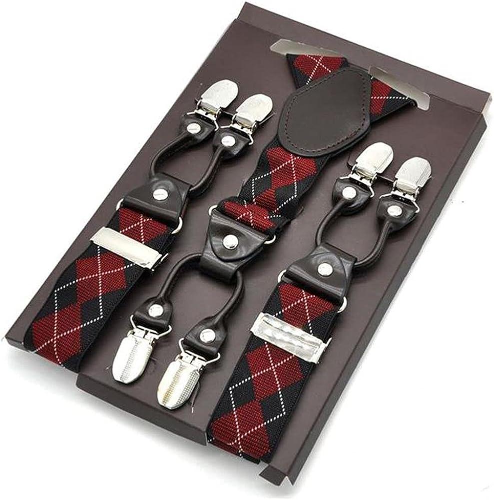 Mens Suspenders Fashion Women Shirt Leather 6 Clips Braces Male Casual Suspensorio Trousers Strap 3.5x120Cm