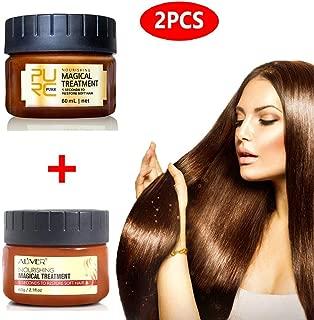 2pcs Magical Hair Treatment Mask, Hair Conditioner,Magical Hair Roots Mask 5 Seconds Repairs Damage Hair Root Hair Tonic Keratin Hair & Scalp Treatment 60ML×2,Good for Damaged Dry Hair.