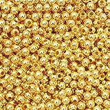 2000 cuentas redondas de metal lisas espaciadoras sueltas para hacer joyas, pulseras, abalorios de 2 a 10 mm, cuentas de hierro dorado, 6 mm, 100 unidades